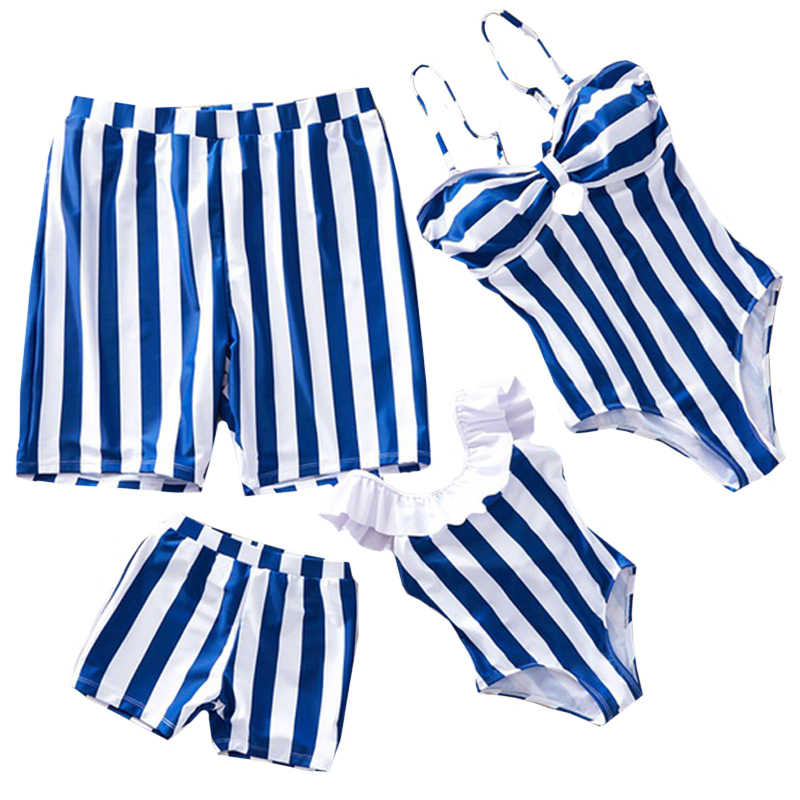 2020 New Summer Family Swimsuits Blue Stripe One Shoulder Swimsuit Mom Daughter Matching Swimsuit Men Boys Beach Shorts