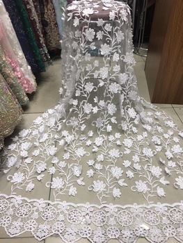 Newest White Applique Cord Lace Fabric African Lace Fabric High Quality French Lace Nigerian Tulle Lace Fabric Wedding KJY9032