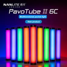 Nanlite pavotubo ii 6c led rgb luz macia portátil, tubo de iluminação manual para fotografia, vara cct