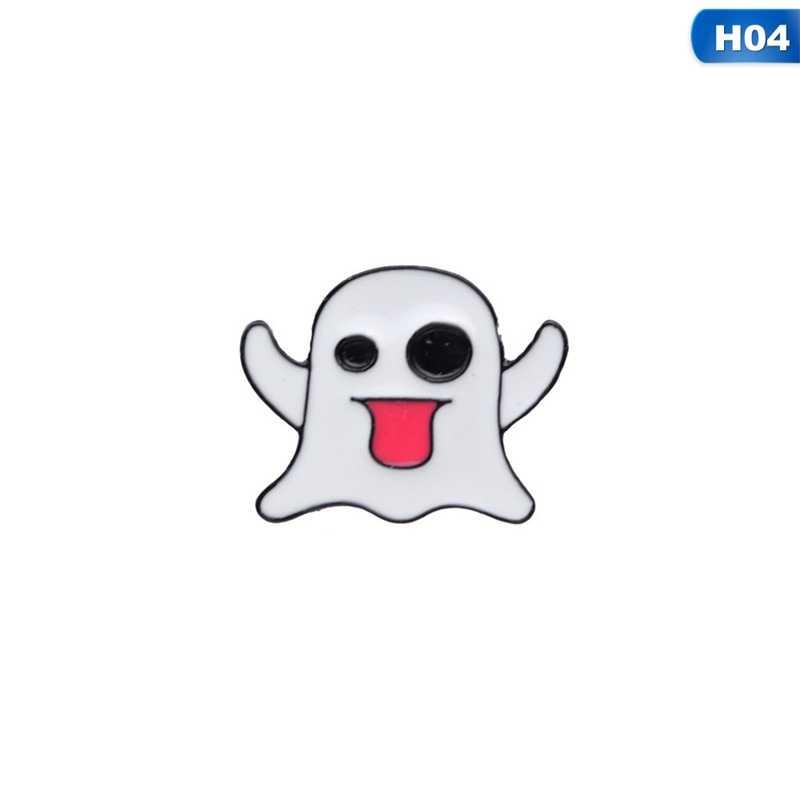 Cartone animato Fantasma di Scheletro Del Cranio Strega Gatto Guidata Spille Per Le Donne Degli Uomini del Sacchetto di Vestiti Distintivi e Simboli Scheletro Risvolto Spilli Dei Monili di Halloween
