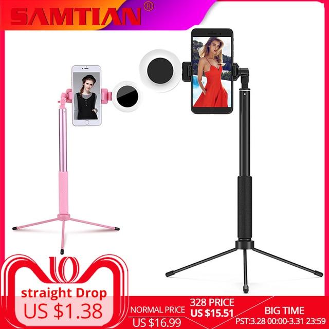 SAMTIAN  селфи палка Bluetooth  1,7 м палка для селфи штатив монопод подставка светодиодный кольцо заполняющий светильник телефона вращение на 360 градусов штатив для телефона смартфона мобильного фото