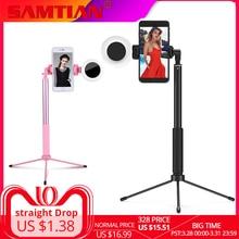 SAMTIAN Selfie מקל Bluetooth 1.7M חצובה חדרגל Stand עם LED טבעת למלא אור טלפון 360 סיבוב עבור Smartphone נייד תמונה