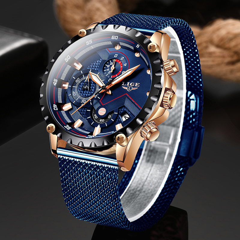 2020 New LIGE Men Watches Male Top Brand Luxury Blue Mesh Steel Business Watch Men Fashion Waterproof Chronograph Reloj Hombre