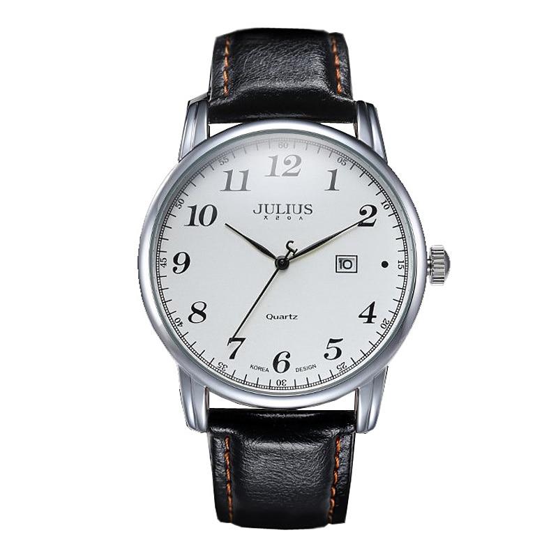 4 Colors Top Julius Man Men's Watch Japan Quartz Hours Clock Auto Date Fine Fashion Real Leather Boy's Retro Birthday Gift Box