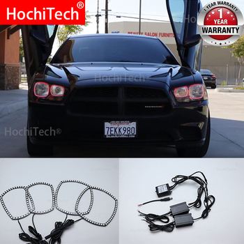 For Dodge Charger SXT Plus 2011 2012 2013 2014 Car RGB Multi-Color LED Angel Eyes Halo Ring Light Kit Wireless Remote Control