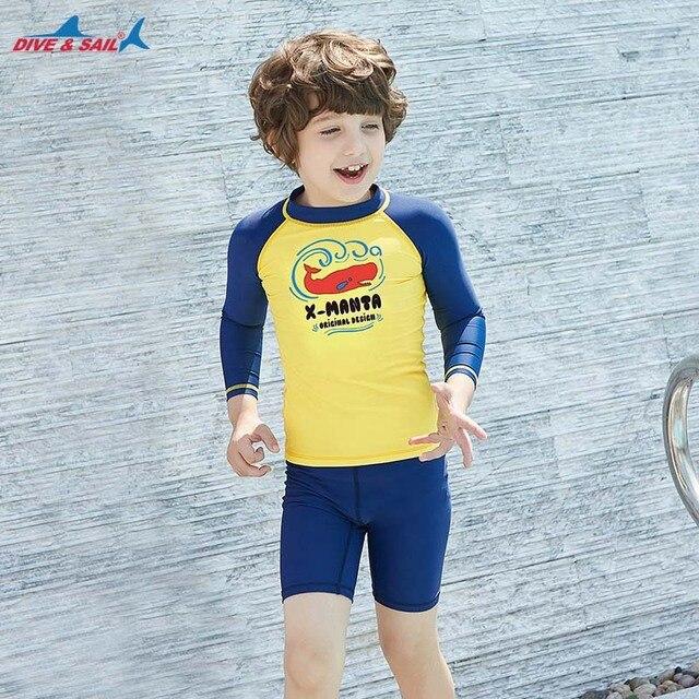 Dive & Sail dla dzieci chłopcy strój kąpielowy pływanie garnitur 2 sztuka zestaw UV50 + ochrona przed słońcem dla 3 9Y dzieci rashguardy surfowania plażowe stroje kąpielowe
