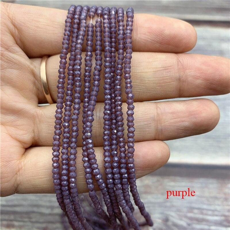 1 нитка 1X2 мм/2X3 мм маленькие хрустальные бусины Rondelle бисер-разделитель маленькие бусины для изготовления ювелирных изделий Diy - Цвет: purple