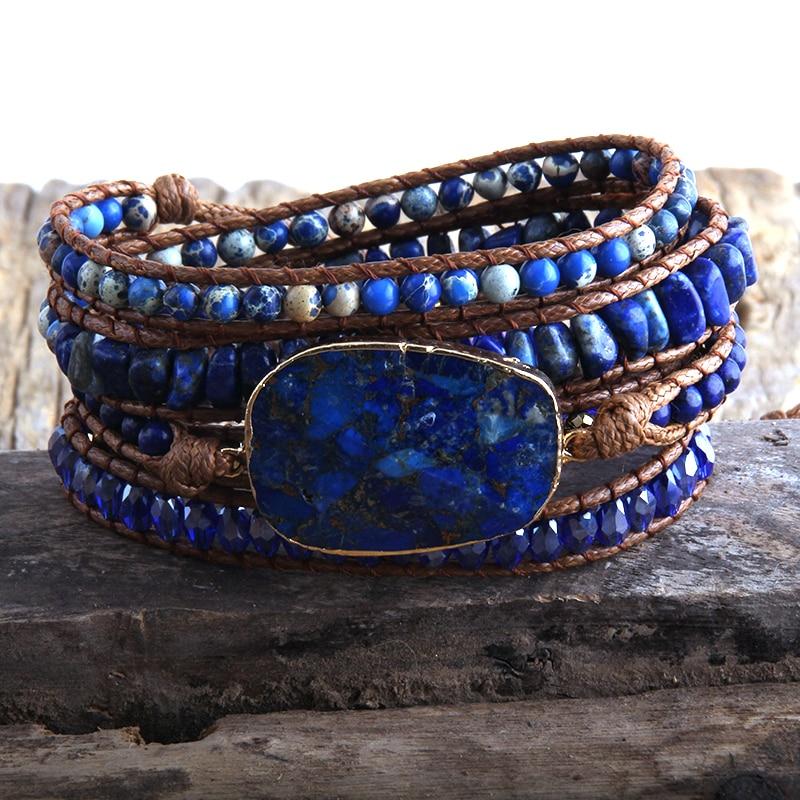 RH New Designer Women Vegan Boho Bracelet Handmade Mixed Natural Stones Charm 5 Strands Wrap Bracelets Women Jewelry DropShip