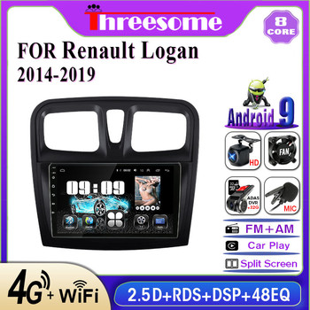 2 din 4G Android 9.0 car Radio multimedia Player For Renault Logan 2 Sandero2 2012-2019 IPS 2.5D GPS Navigation RDS Split Screen image