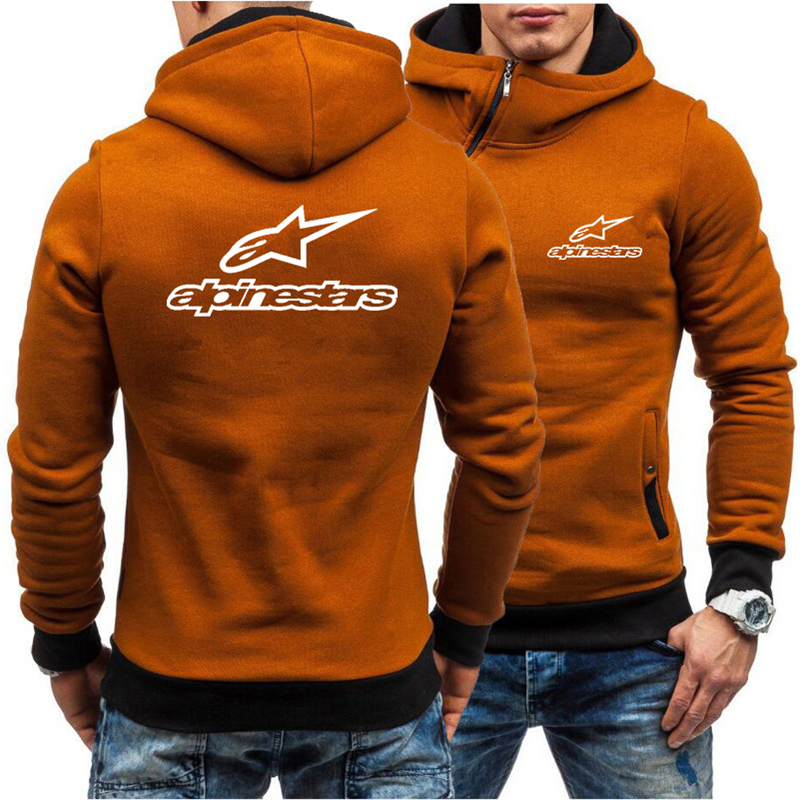 Alpinestars Diagonal Zipper Hoodies Men Sweatshirt Letter Print Sportswear Slim Pullover Tracksuit Hip Hop Streetwear Hombres