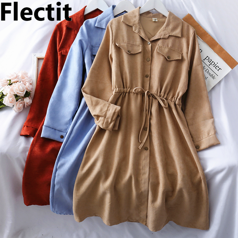 Flectit Vintage Suede Shirt Dress Long Sleeve Collared Button Up Drawstring Waist Mid Length Winter Dress For Women *