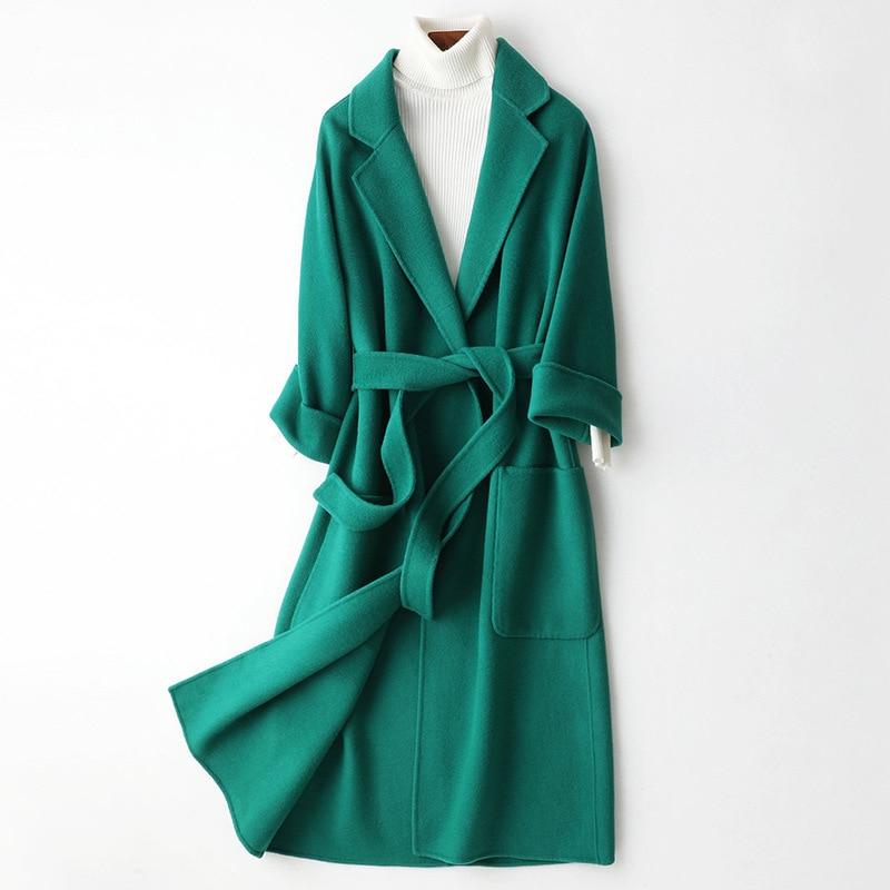 Fashion Autumn Winter Long Red Double Woolen Coat Turn Down Collar Women Green Wool Woolen Slim Black Coat Sashes Pockets Blends