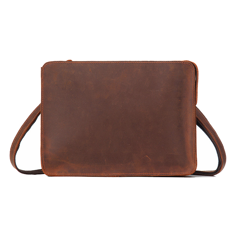Crazy Horse Genuine Leather Business Briefcase Men Office Handbags Messenger Shoulder Bags For Mens Document Bag Briefcases