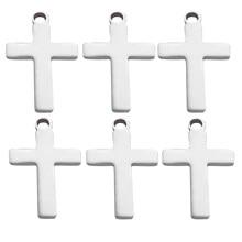 50 pçs/lote cruz de aço inoxidável pulseira conectores encantos pingente diy colar jóias fazendo acessórios wholsale