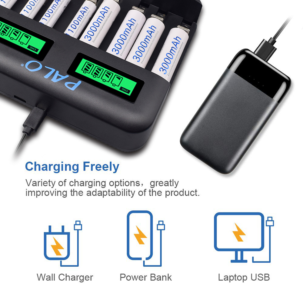Image 5 - PALO 1.2V AA/AAA C D size NiMH battery Charger with LCD Display  for aa/aaa Rechargeable battery for e cigarette battery  chargerChargers