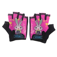 Cycling Gloves Kids Child Rabbit Outdoor Sports Non Slip Breathable Half Finger Y51D