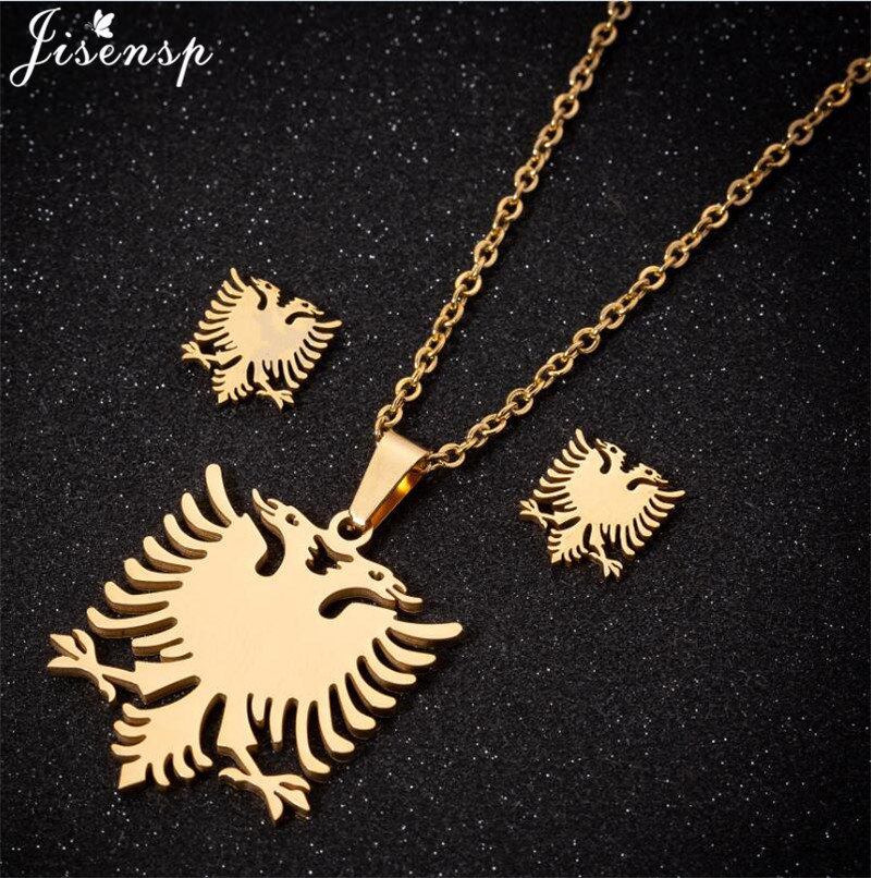 Stainless Steel Albanian Eagle Necklace