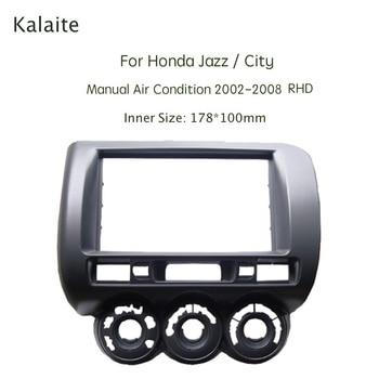 Kalaite 2Din Car Radio Fasicas for Honda Jazz City Manual A/C 2002-2008 Multimedia Frame Audio Panel Dash Refitting Trim Kit