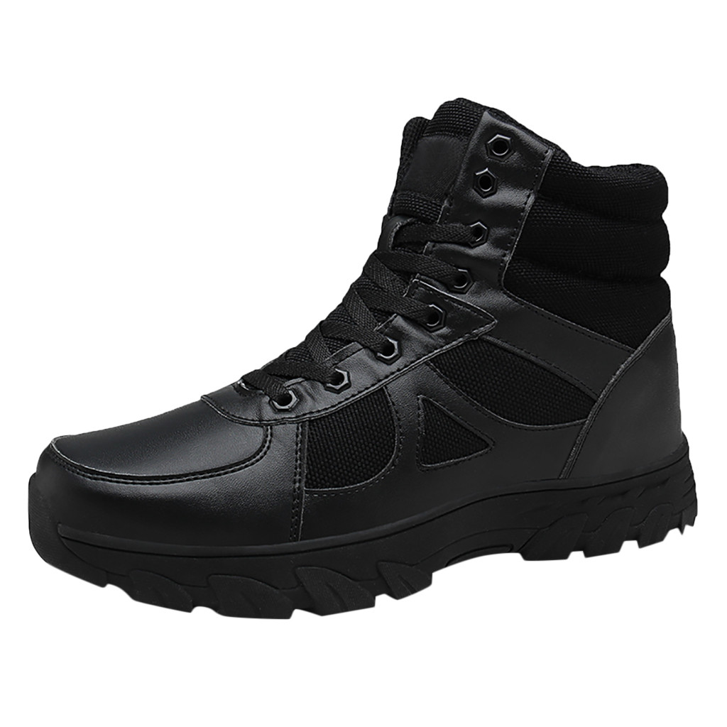 Mens Lace Up Mid Calf Military Boots Breathable Combat Desert Outdoor Shoes NEW