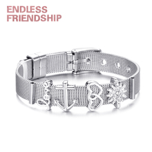 Hot Sale Mesh Bracelet Jewelry Silver Color For Brand Bracelets Women 4 Slide Charms Stainless Steel Bangle Valentines Gift tdiyj newest collection silver stainless steel mesh keeper ing bracelet with crystal star cutout slide charms for women 1set