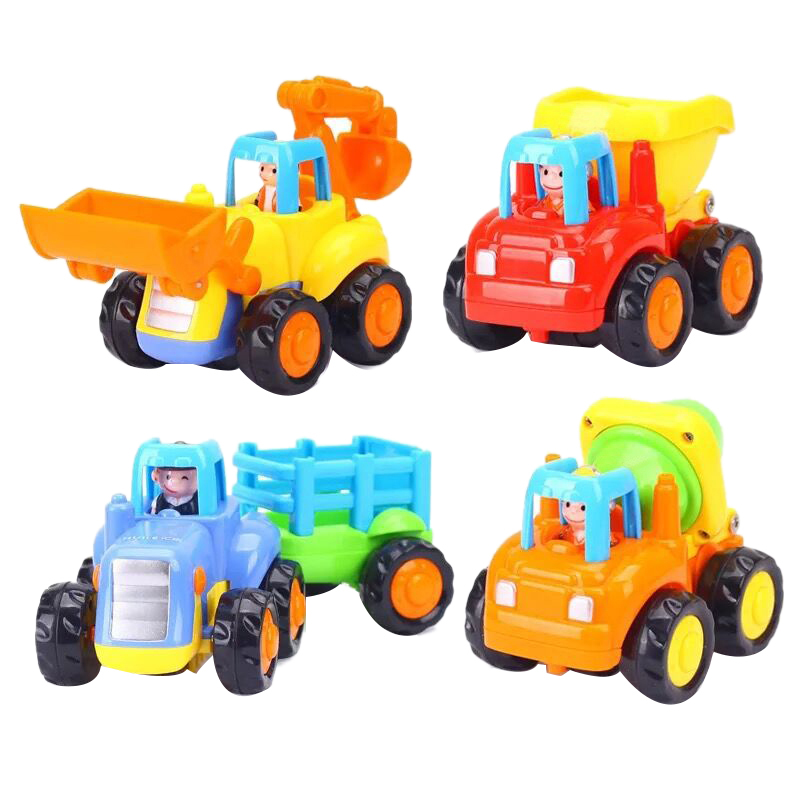 Cartoon Friction Powered Play Vehicles For Toddlers 4 Pack,Dump Truck, Cement Mixer, Bulldozer, Tractor,Toy Trucks,Toddler Toys