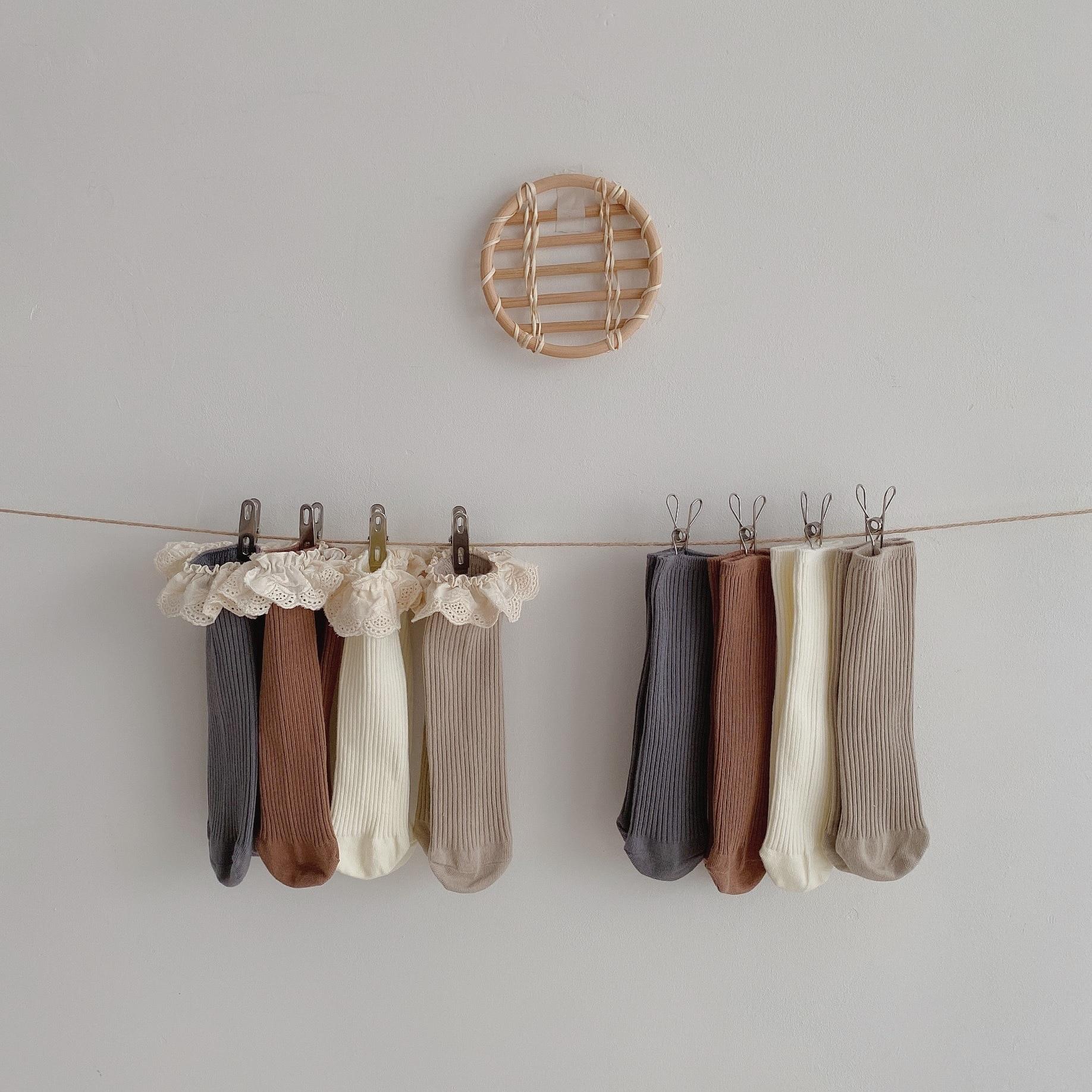 4 Pairs/lot New Baby Girls Socks Long Socks Kids Knee Length Soft Cotton Baby Socks Kids 1-6 Years Knee High Socks 6