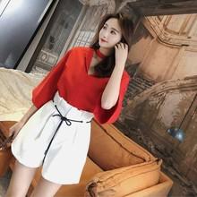korean office short-sleeve top and high waist wide leg pants 2 piece set women tiktok clothes 2020 summer loose two pieces set цена и фото