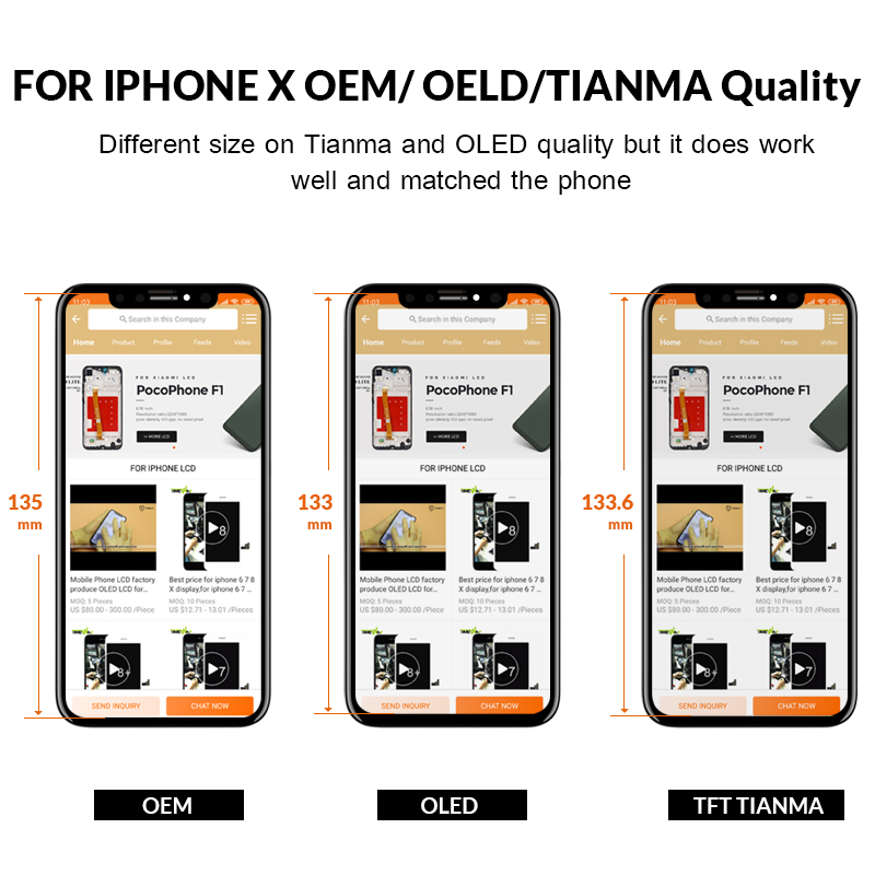 Grade For iPhone X S Max XR LCD Display For Tianma AMOLED OEM Touch Screen With Grade For iPhone X S Max XR LCD Display For Tianma AMOLED OEM Touch Screen With Digitizer Replacement Assembly Parts Black