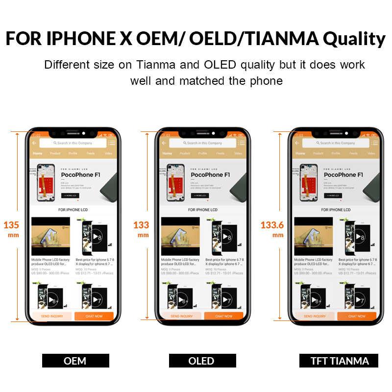グレード iphone × S 最大 XR Lcd ディスプレイ天馬 AMOLED OEM デジタイザの交換組立部品黒