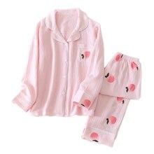Fresh Peach sweet sleepwear women pajamas sets spring Japanese 100% cotton long sleeved nightwear women pyjamas homewear