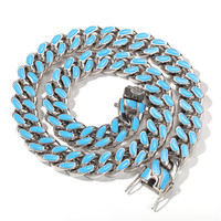 Stainless Steel Necklace 4 Colors 11mm Heavy Miami Cuban Chain Fashion Hip Hop Jewelry For Men Gifts
