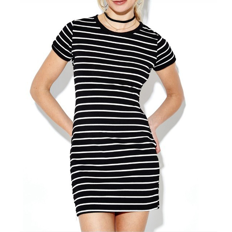 <font><b>Sexy</b></font> Striped Bodycon <font><b>Dresses</b></font> for Womens High Street Slim Show Body Party <font><b>Dress</b></font> Vintage Short Sleeve <font><b>Nightclub</b></font> Mini <font><b>Dress</b></font> image