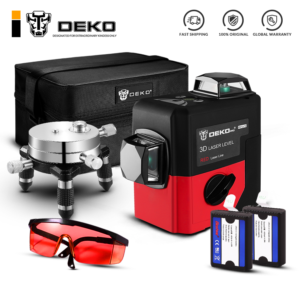 DEKO LL12-HV 12Lines 3D Laser Level Self-Leveling 360 degre Horizontal & Vertical Cross Powerful Outdoor can use Detector milwaukee electric tool corporation