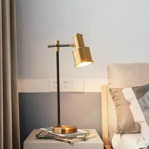 Винтажная Медная настольная лампа, Скандинавское исследование, прикроватная настольная лампа для спальни, семейная гостиная, спальня, деко...
