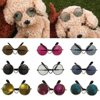 1Pcs Funny Cute Cat Small Dog Sunglasses Classic Retro Circular Metal Prince Sunglasses Eye-wear Photos Props Accessories image