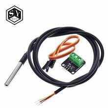 DS18B20 датчик температуры модуль комплект водонепроницаемый 100 см 2 цифровой датчик кабель из нержавеющей стали зонд терминал адаптер для Arduino