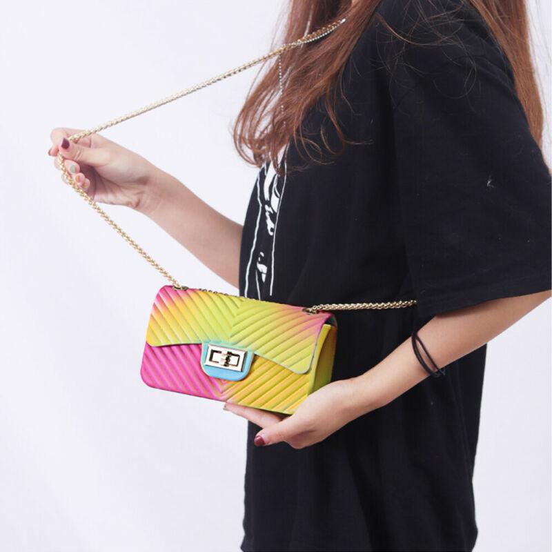 NEW QUILTED RAINBOW SILICONE SHOULDER BAG CHAIN BAG PVC CROSSBODY HANDBAG LADIES