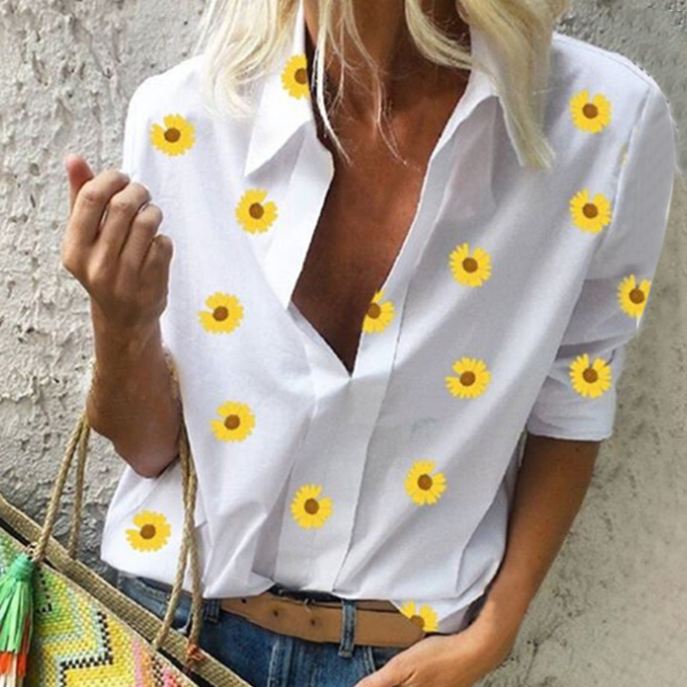 2020 Women's Blouses New Flower Print Women's Summer Blouse V Neck Wild Blouse Women 3xl