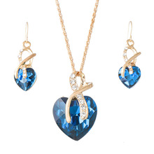 MeiLD Crystal Heart Necklace Earrings For Women Classic Gold Statement Jewelry Luxury Romantic Austrian Crystal Jewelry Sets