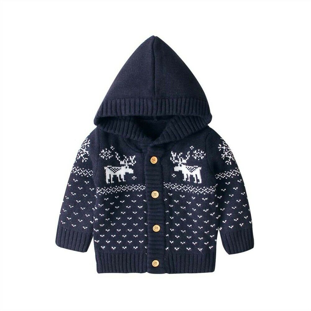 Christmas Xmas Knitted Coat Baby Girls Boys Coat Hooded Jacket Cardigan Christmas Deer Outwear 0 18 months|Jackets & Coats| |  - title=