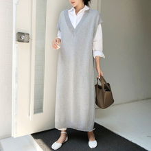Robe gilet sans manches, robe longue pour le bureau, vêtements amples, mode coréenne, automne hiver pull décontracté