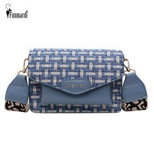 FUNMARDI Fashion Plaid Patchwork Messenger Bags For Women Shoulder Bag Wide Strap Small PU Leather Flap WLHB2045