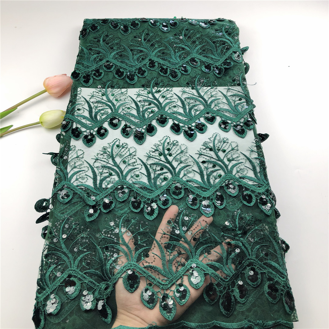 Green 2020 New Design African 3d Lace Fabric Wholesale French Lace Fabric High Quality Nigerian Tulle Sequins Lace Fabric 5Yards