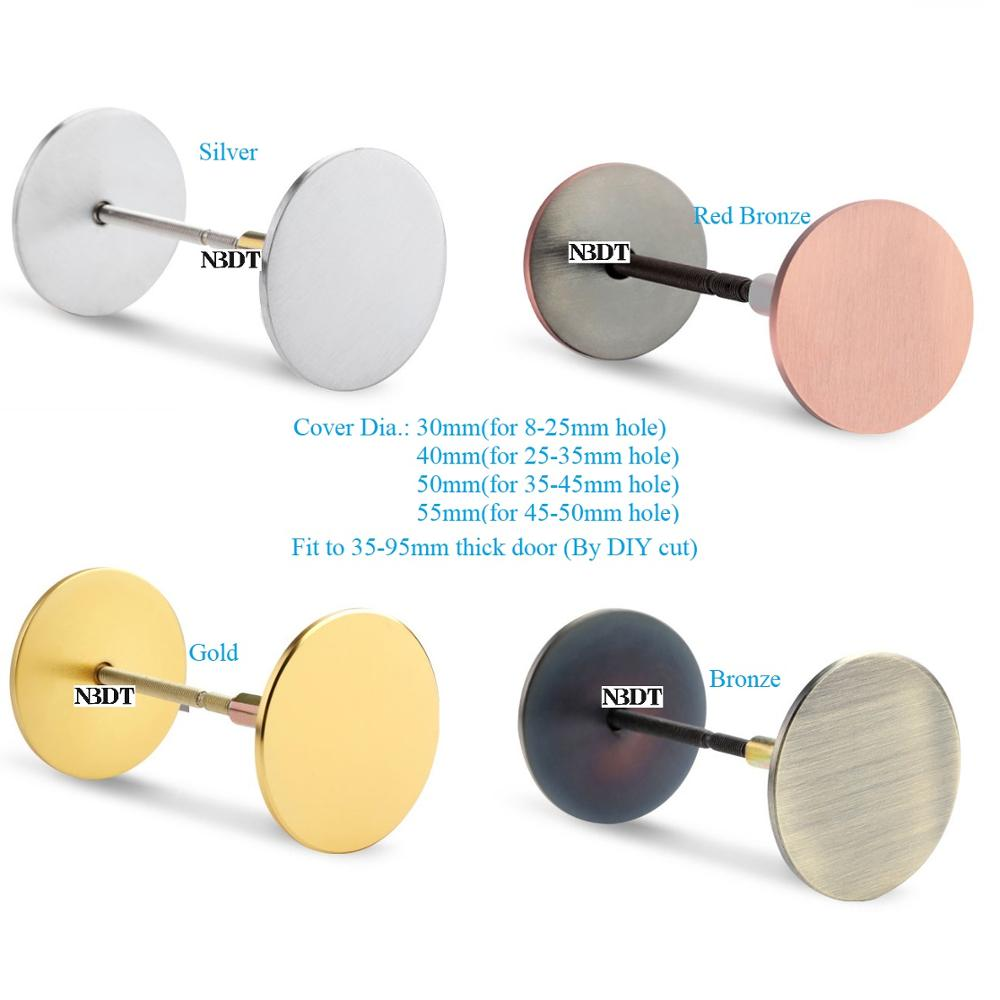 304 Stainless Steel Door Hole Cover Plate Filler Entry Door Security By Covering Unused Hardware Holes Gold Silver Red Bronze