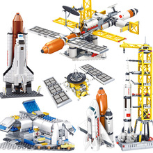 KAZI aviation series Spacecraft Shuttle Launch Sets Spaceport rocket station Model Building Blocks kits toy Compatible city