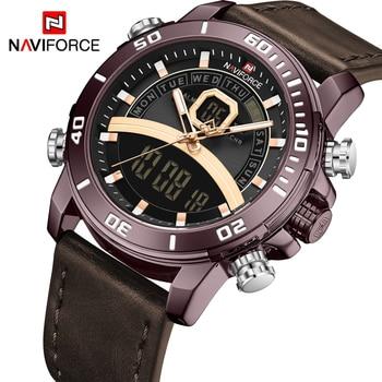 NAVIFORCE NF9181 Mens Watches Genuine Leather Quartz Watches Waterproof-Chocolate