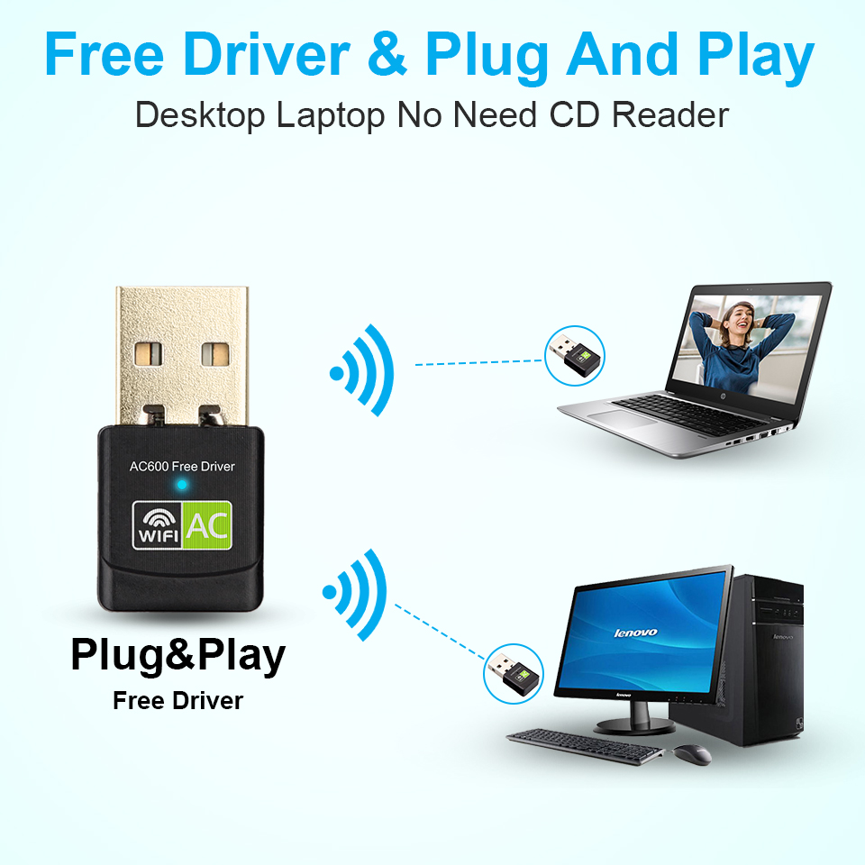 Free Driver USB Wifi Adapter 600Mbps Wi fi Adapter 5ghz Antenna USB Ethernet PC Wi-Fi Adapter Lan Wifi Dongle AC Wifi Receiver 2