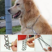 מתכת נירוסטה שרשרת כלב צווארון כפול שורה מצופה כרום הצג הדרכה צווארון מתכוונן בטיחות שליטה