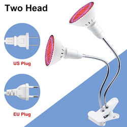 Plantas Growing Lamps LED Dual Head Grow Light Lamp Red Blue UV IR Lights Clip For Veg Indoor E27 Green house LED Indoor GrowBox