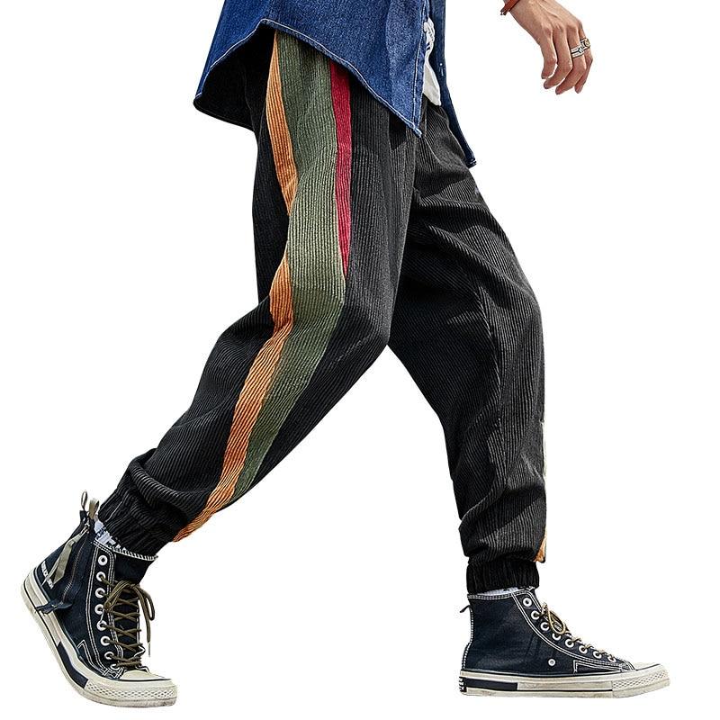 Флисовые Мужские Модные Цветные вельветовые штаны, спортивные штаны, повседневные эластичные штаны-шаровары с полосками радуги в стиле ретро - Цвет: Черный